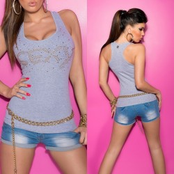 Camiseta sexy brillo gris