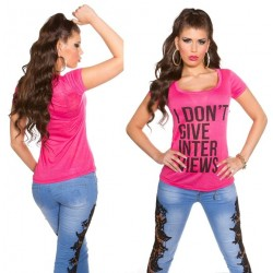 Camiseta I dont give Interviews fucsia