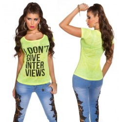 Camiseta I dont give Interviews amarilla