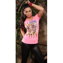 Camiseta love hate rosa fluor